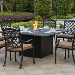 Propane Fire Pit Sets With Chairs Banquet Chair Covers Rental Patio Furniture Dining Set Cast Aluminum 64