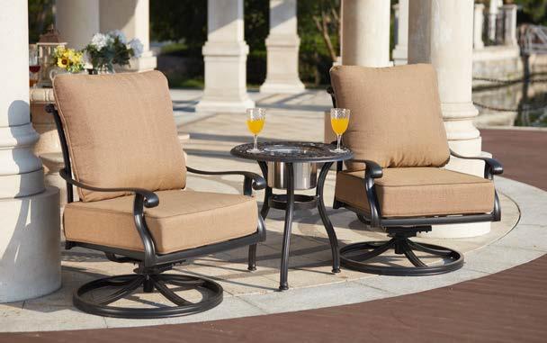 Patio Furniture Cast Aluminum 3Pc Deep Seating Swivel