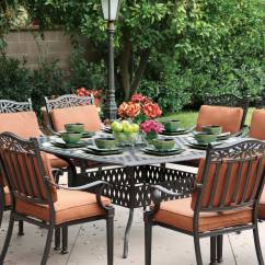 Patio Chairs For Table Dining Room On Wheels Furniture Set Cast Aluminum 64 Quot Square