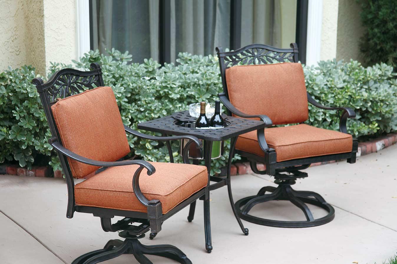 bistro set with swivel chairs best baby rocking chair glider patio furniture cast aluminum rocker 3pc