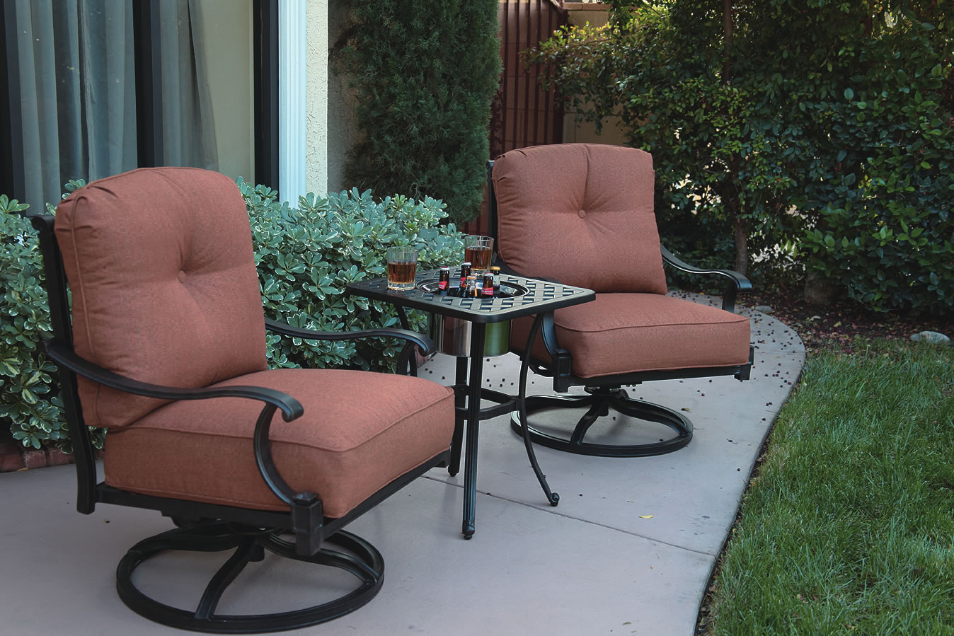 Patio Furniture Cast Aluminum Deep Seating Rocker Swivel
