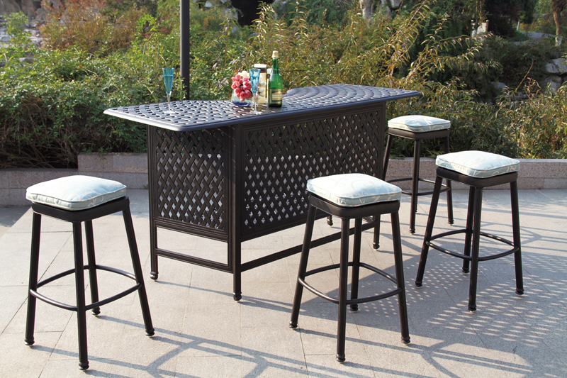 Patio Furniture Party Bar Set Cast Aluminum Backless