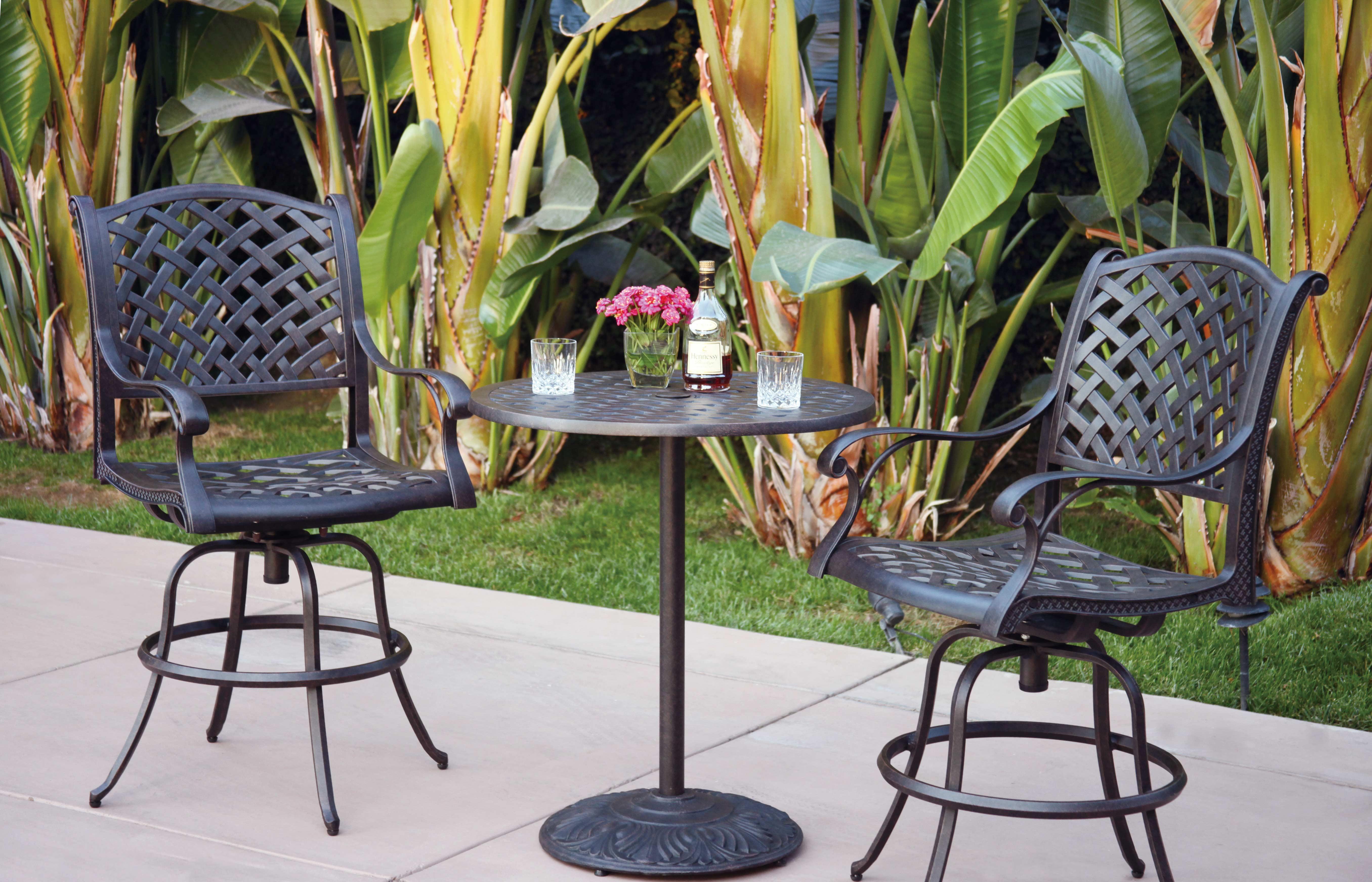 patio furniture bistro set cast aluminum 30 round pedestal pub table 3pc nassau