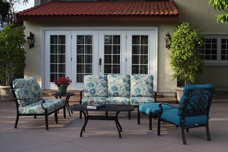 patio furniture deep seating set cast aluminum 6pc santa barbara