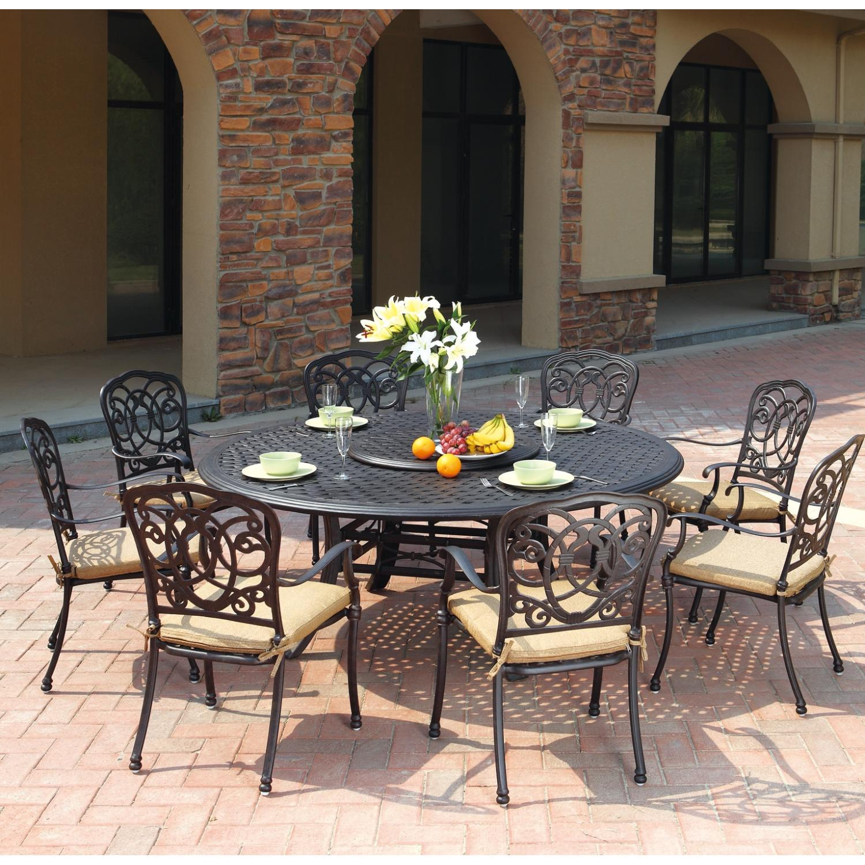 patio furniture dining set cast aluminum 71 round table 10pc florence