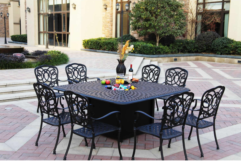 patio furniture dining set cast aluminum 64 square propane fire pit table 9pc florence
