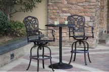 """Patio Furniture Bistro Set Cast Aluminum 30"""""""