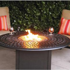 "Swivel Chair Dining Student Desk Patio Furniture Deep Seating Set Cast Aluminum 52"" Propane Fire Pit Chat Table 3pc Florence"