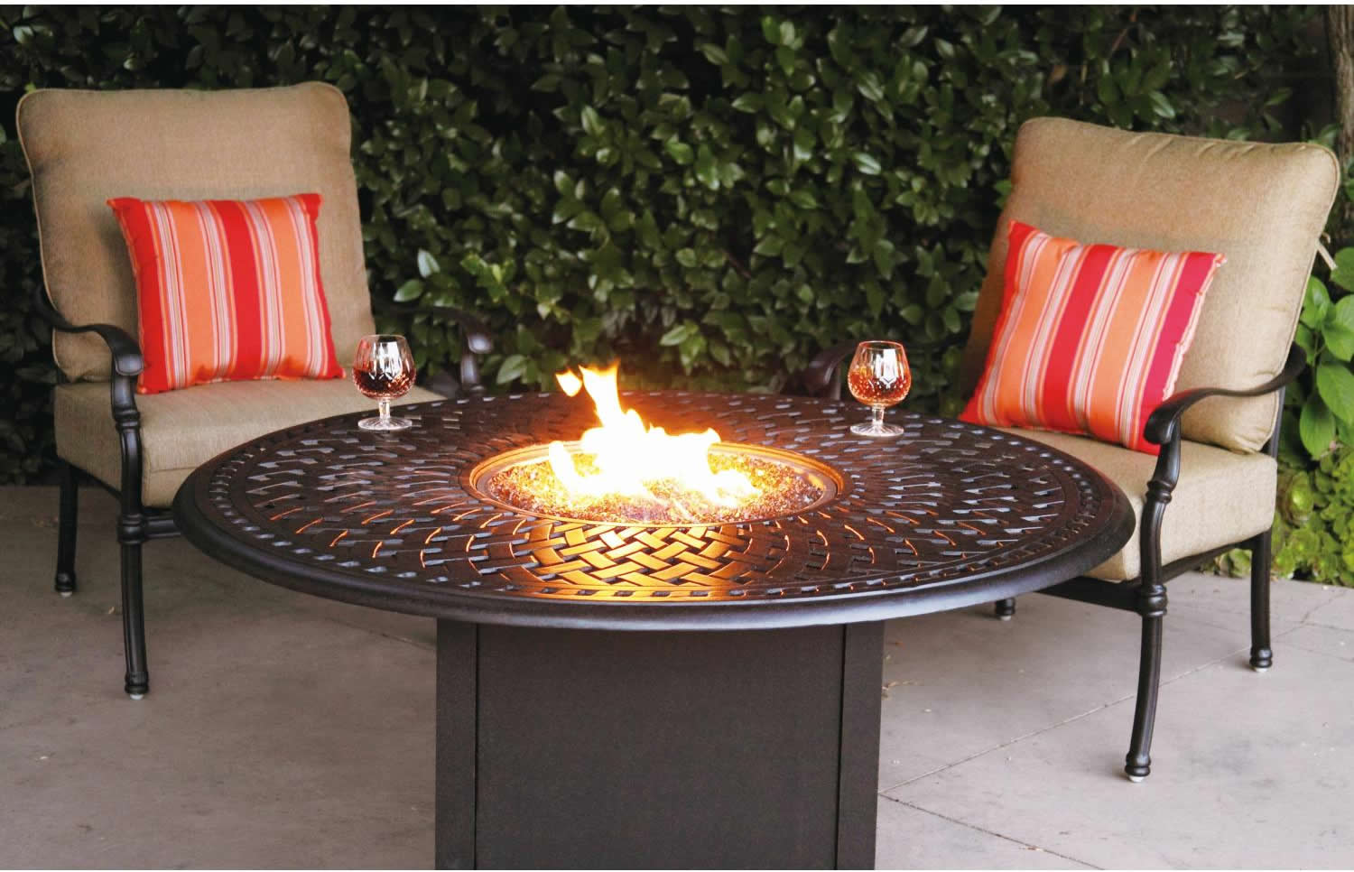 Patio Furniture Deep Seating Set Cast Aluminum 52 Propane