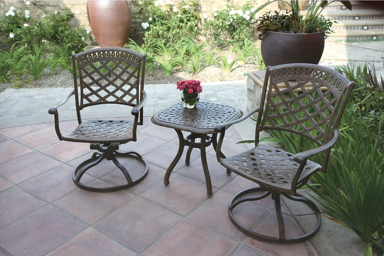 aluminum patio chairs ashley furniture kitchen table and rocker swivel cast chair 3pc sedona