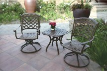 Patio Furniture Rocker Swivel Cast Aluminum Chair 3pc Sedona