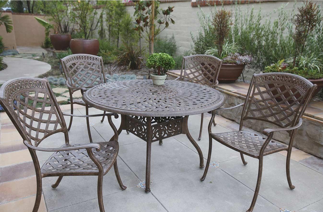 Patio Furniture Dining Set Cast Aluminum 48 Round Table