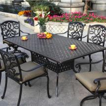 "Patio Furniture Dining Set Cast Aluminum 72"" Rectangular"