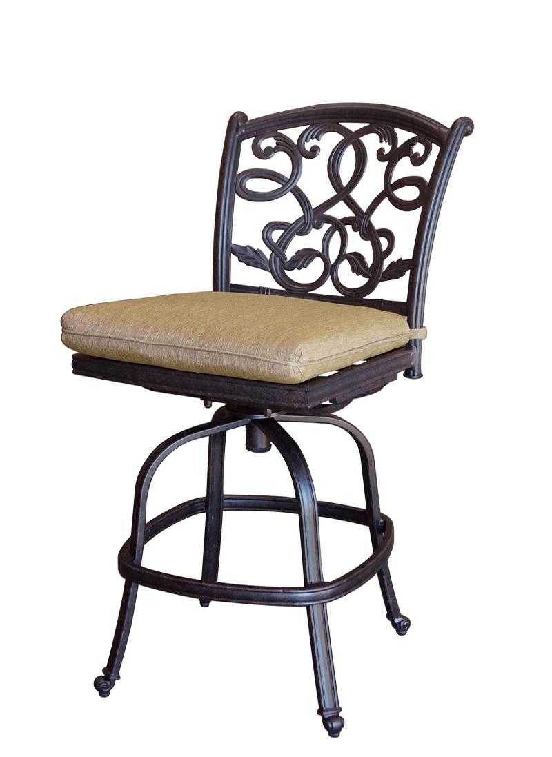 Patio Furniture Cast Aluminum Counter Stool Swivel Armless
