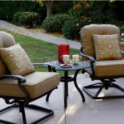 Bistro Set With Swivel Chairs Adirondack Chair Covers Home Depot Patio Furniture Cast Aluminum Deep Seating Rocker