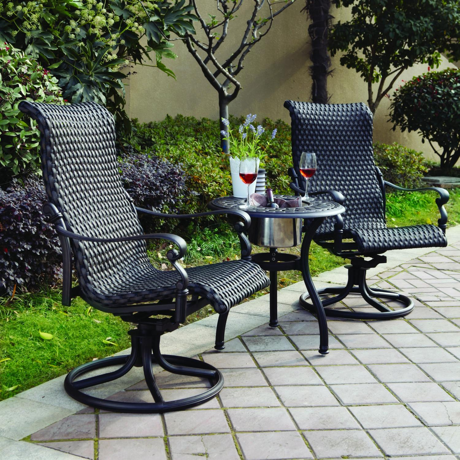 wicker patio chair set of 2 rental tables and chairs furniture aluminum rocker swivel