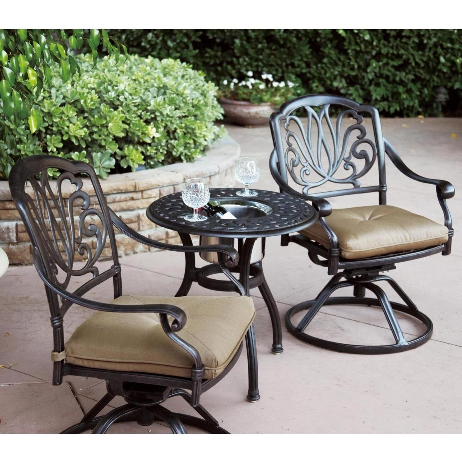 bistro set with swivel chairs heavy duty shower chair patio furniture cast aluminum rocker 3pc