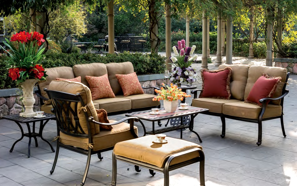 Patio Furniture Deep Seating Chat Group Cast Aluminum 7pc