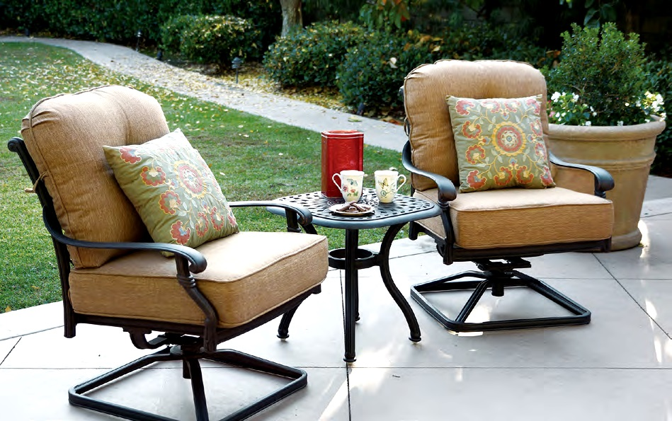 patio swivel rocker chairs heavy duty camp chair furniture cast aluminum deep seating club set 3pc santa monica