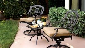 Patio Furniture Rocker Swivel Cast Aluminum Chair Set 3pc
