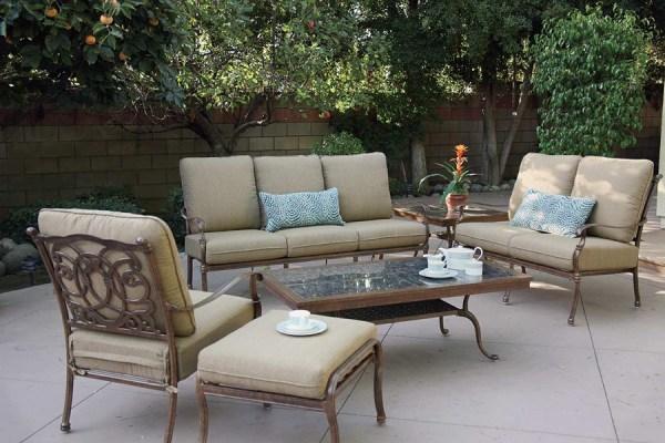 cast aluminum deep seating patio furniture Patio Furniture Deep Seating Set Cast Aluminum 7pc Florence