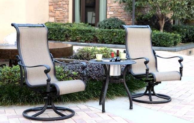 patio furniture aluminum sling bistro set 3pc monterey