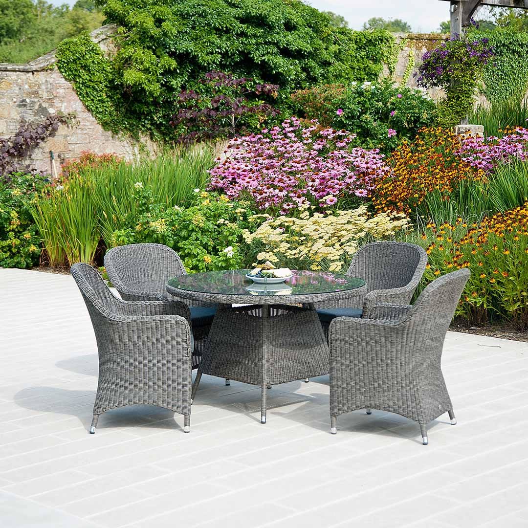 grey weave garden chairs chair foot covers home depot monte carlo 4 seater rattan dining set