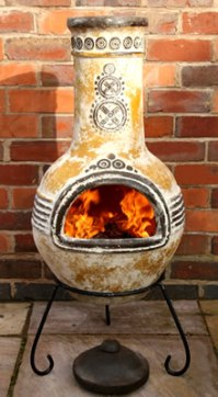 Large Azteca Yellow Mexican Clay Chimenea Fireplace with ...