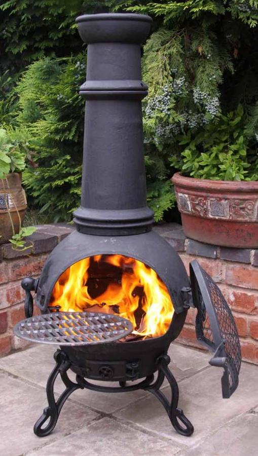 Extra Large Toledo Black Cast Iron Chimenea Fireplace with BBQ grill  12999  Garden4Less UK Shop