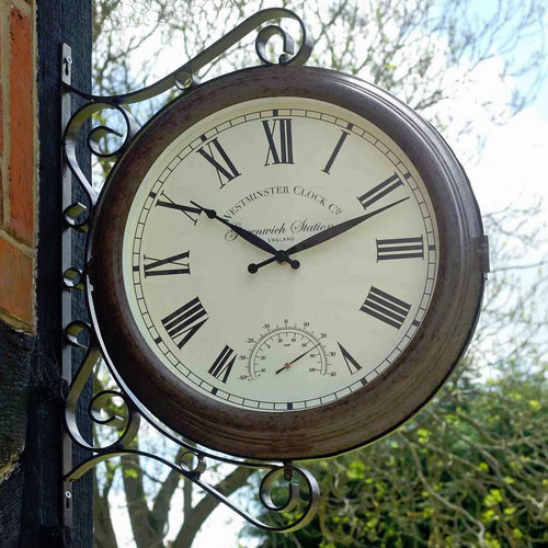 Greenwich Double Sided Station Clock  Thermometer  89