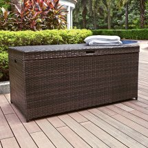 Outdoor Wicker Bench with Storage