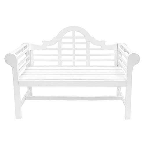 Achla Designs 4 Foot Lutyen Garden Bench White Garden