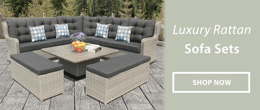 rattan sofa set uk leather sleeper queen size luxury garden furniture for sale online centre shopping