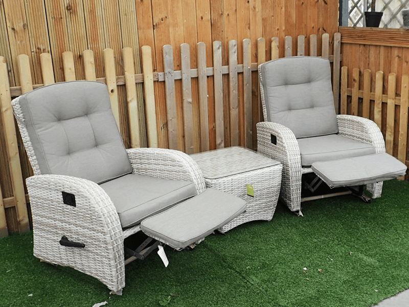 aluminium reclining garden chairs uk small space table and rocking set in latte rattan - new for 2017!