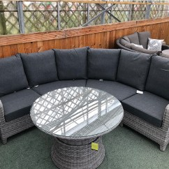 Wicker Sofa Sets Uk Framework Wiki Curved Rattan Corner Set In Silver Grey Cushions Included Out Of Stock