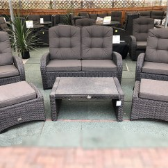 Wicker Sofa Sets Uk Bed Under 500 Reclining Rattan 4 Seater Set Grey Garden Centre Shopping Out Of Stock