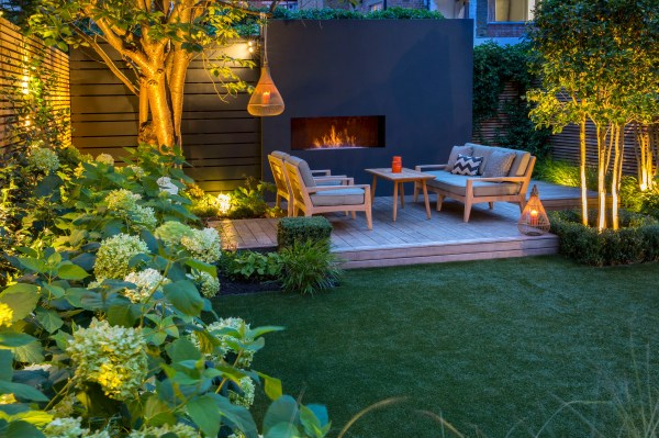 outdoor fireplace garden design