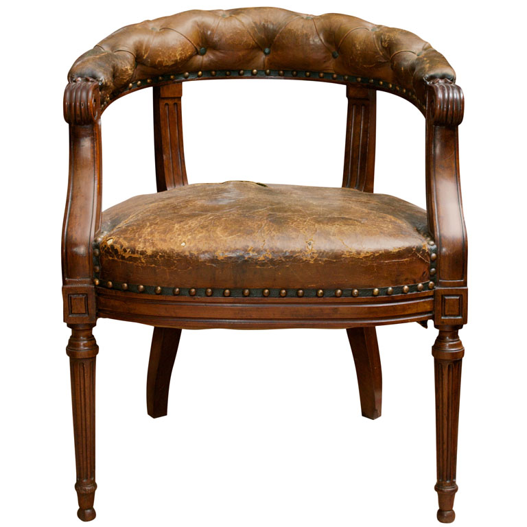 barrel back chair covers to rent near me tufted leather and mahogany library garden court english circa 1860