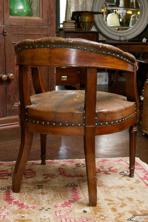 Tufted Leather and Mahogany Barrelback Library Chair