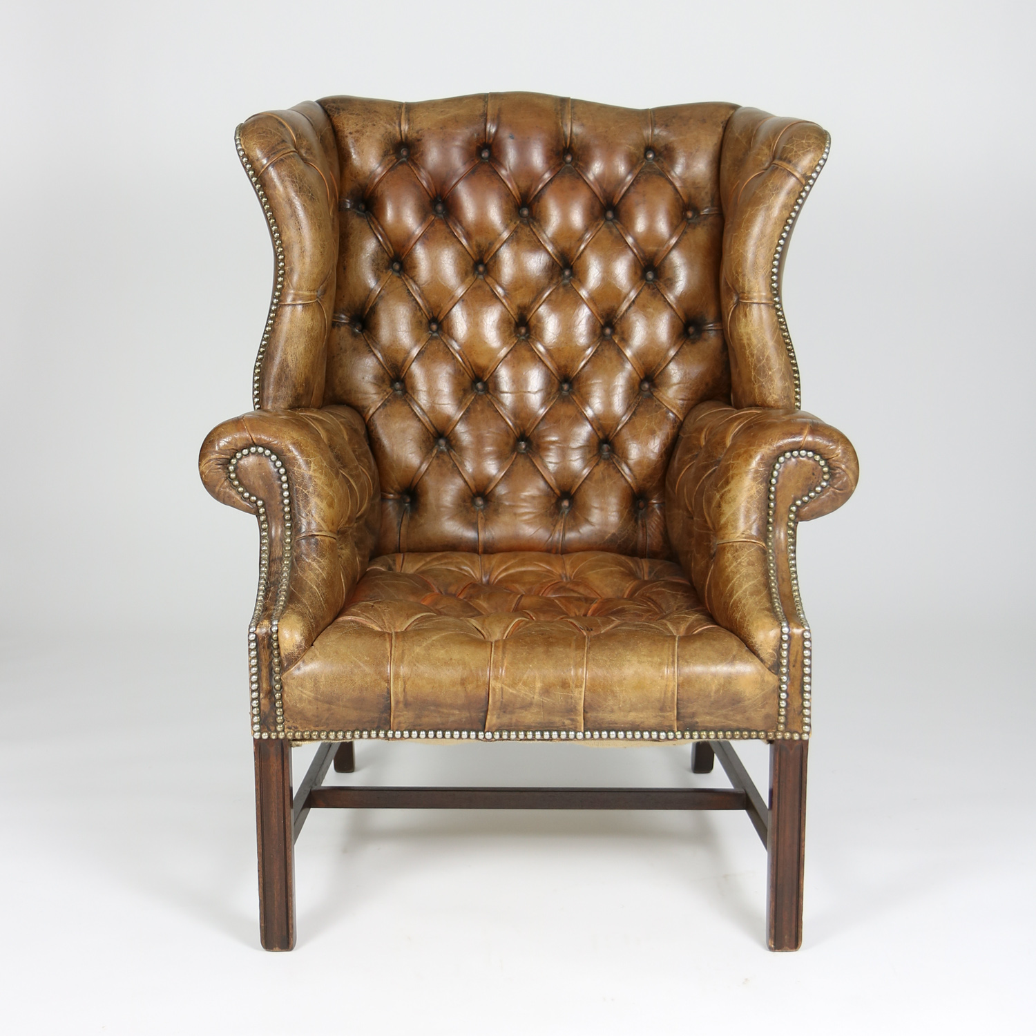 Brown Tufted Leather English 19th C Wingback Chair Ph