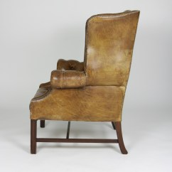 Tufted Leather Wingback Chair Wedding Covers And Sashes To Buy Brown English 19th C Ph