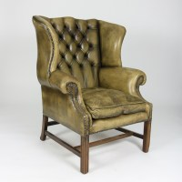 Tufted Green Leather Wingback Chair. Ph. (415) 355-1690