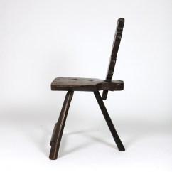 3 Legged Chair Blue Accent Primitive 415 355 1690