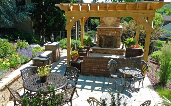 Outdoor Patio Pergola with Fireplace