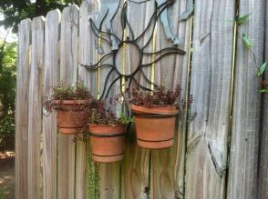 Pots decorate a fence