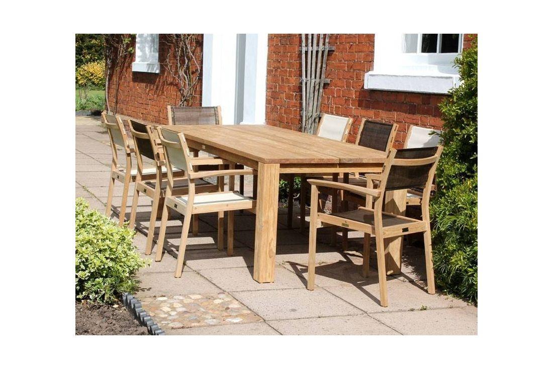 mayfair fsc certified teak 8 chair dining set of outdoor garden furniture