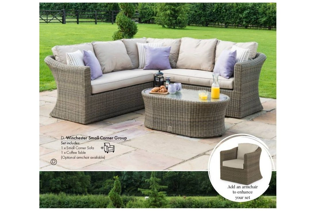 rattan garden corner sofa sets leather fabric winchester furniture small set chair