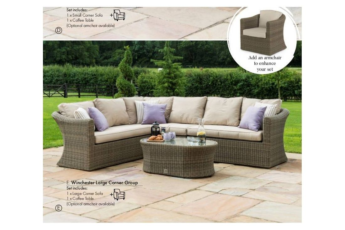 Winchester Rattan Outdoor Garden Furniture Large Corner Sofa Set Chair
