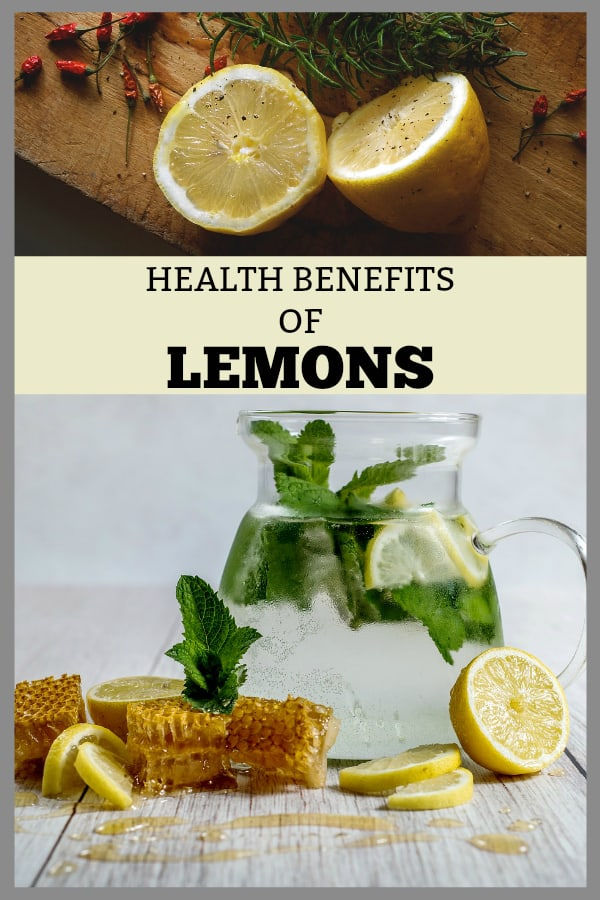 lemons on cutting board and lemons in water with text overlay health benefits of lemons