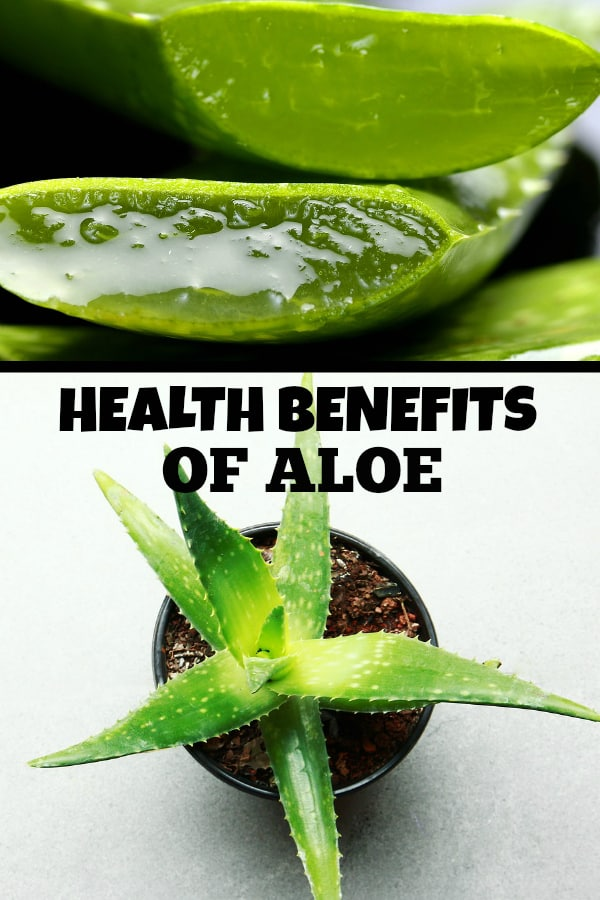 aloe juice and potted aloe with text overlay health benefits of aloe